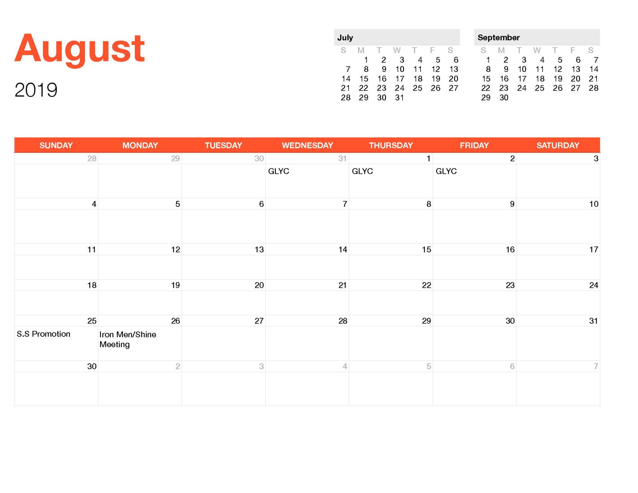 Calender August-Monthly