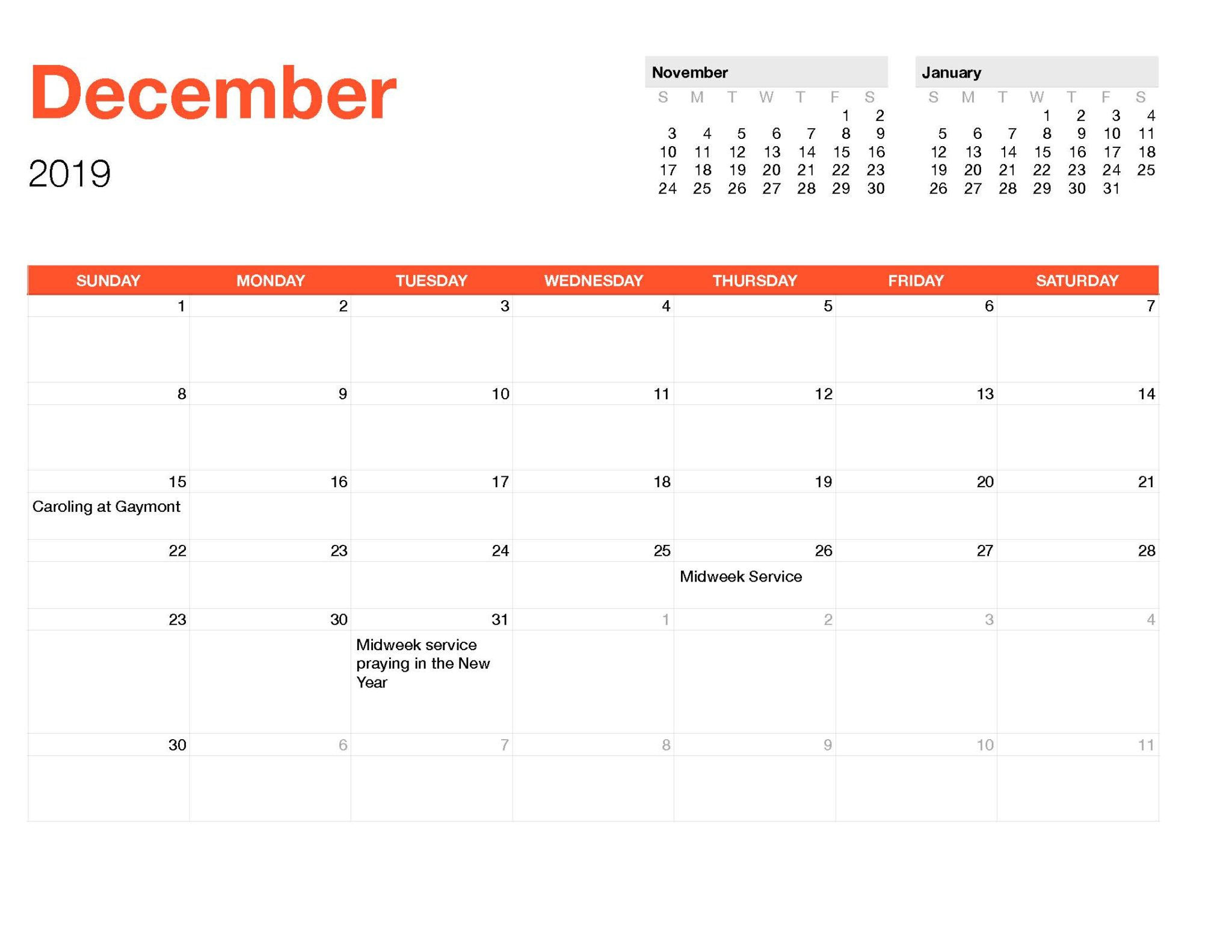 Calender December-Monthly