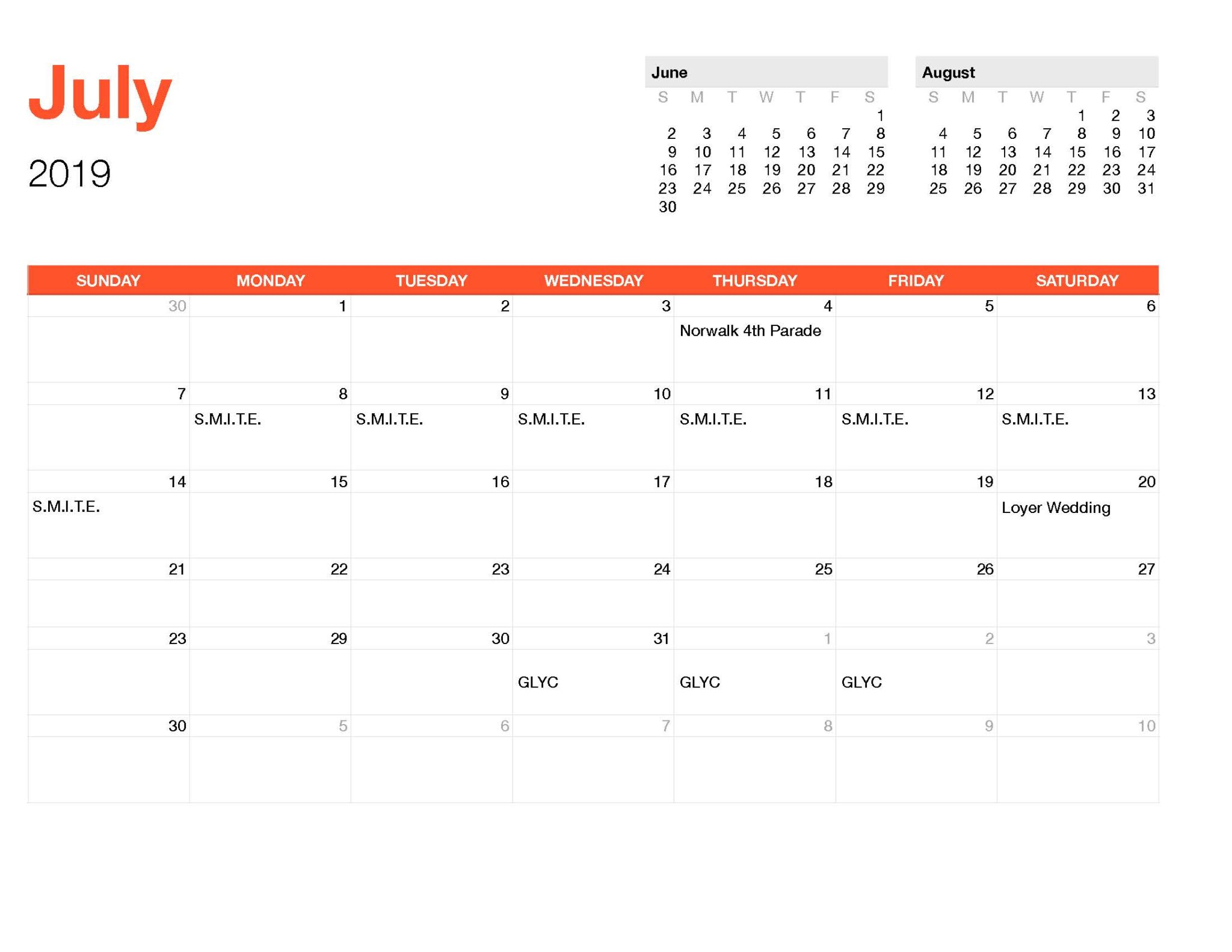Calender July-Monthly