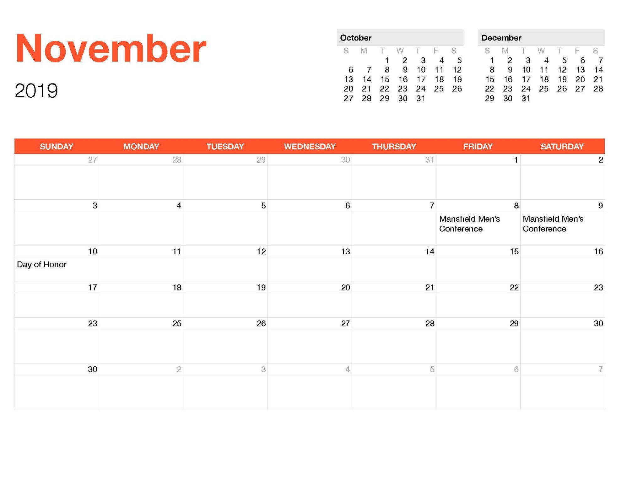 Calender November-Monthly